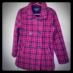 Nicole Miller Red and Black Fleece Pea Coat